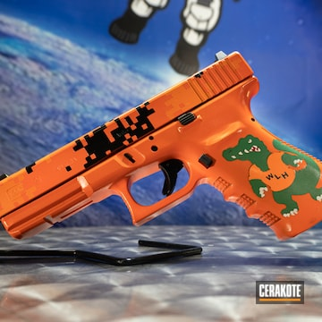 Personal Logo Glock 21 Cerakoted Using Hunter Orange, Bright White And Usmc Red