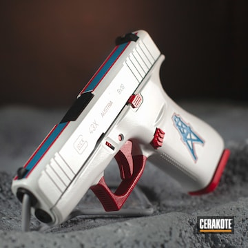Houston Oilers Themed Glock 43x Cerakoted Using Bright White, Usmc Red And Sea Blue