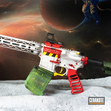 Ghost Busters Themed Ar Cerakoted Using Highland Green, Bright White And Usmc Red