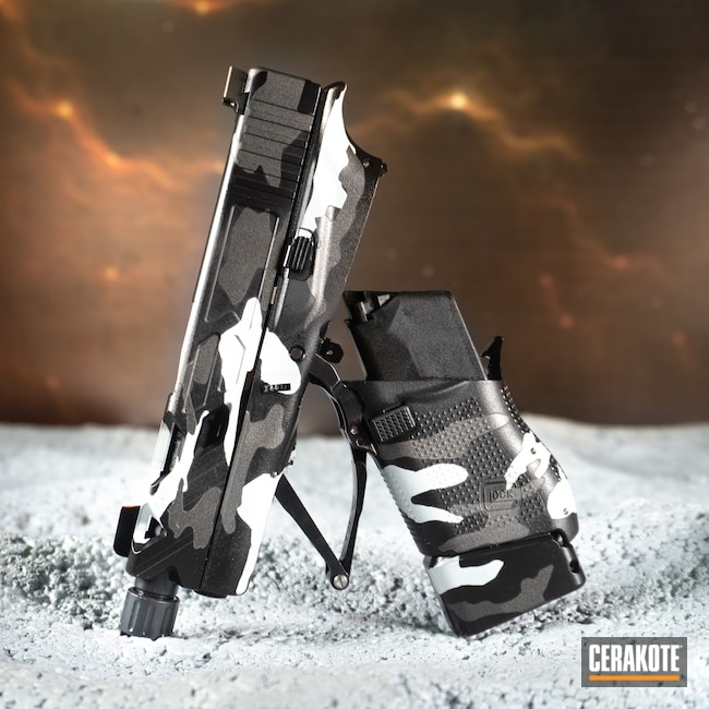 Cerakoted: S.H.O.T,9mm,Graphite Black H-146,Tungsten H-237,Full Conceal,BATTLESHIP GREY H-213,Handguns,Full Cerkote Job,Custom Camo,.9