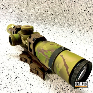 Custom Scope Cerakoted Using Multicam® Dark Brown, Desert Sage And Patriot Brown