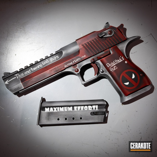 Cerakoted: S.H.O.T,Hidden White H-242,Desert Eagle,Deadpool Theme,Battleworn,Graphite Black H-146,50ae,Crimson H-221,Titanium H-170,Handgun