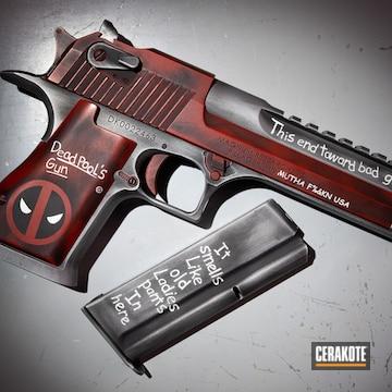 Deadpool Themed Desert Eagle Pistol Cerakoted Using Hidden White, Crimson And Titanium