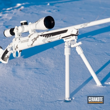 Snow Camo Savage Arms Bolt Action Rifle Cerakoted Using Bright White And Battleship Grey