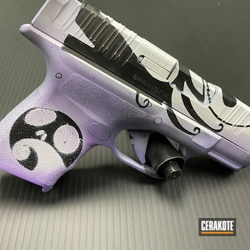Custom Springfield Armory Hellcat Pistol Cerakoted Using Armor Black, Stormtrooper White And Bright Purple