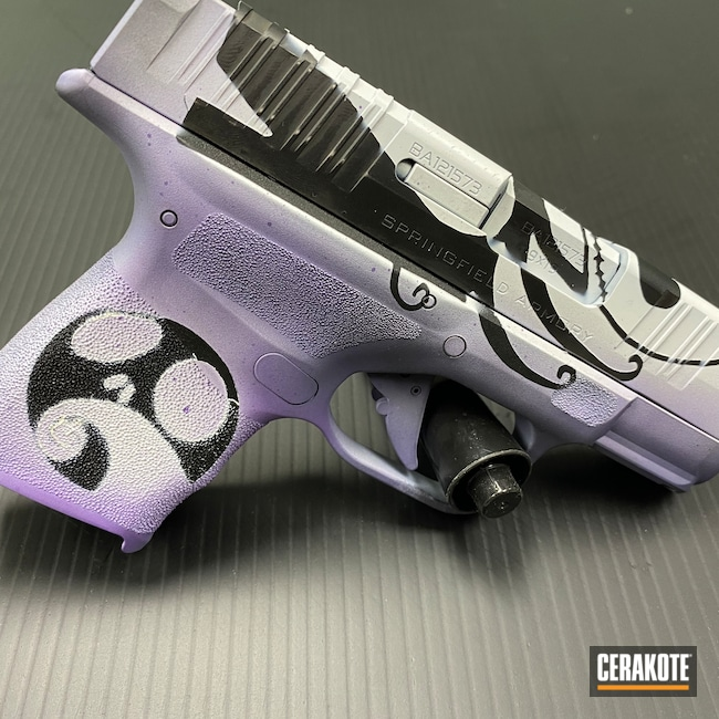 Cerakoted: S.H.O.T,9mm,Bright Purple H-217,Stormtrooper White H-297,Nightmare Before Christmas,Armor Black H-190,Springfield Armory,Hellcat