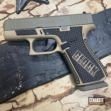 Custom Glock 43x Pistol Cerakoted Using Desert Sand And Hazel Green