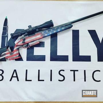 United States Flag Themed Remington 700 Rifle Cerakoted Using Stormtrooper White, Nra Blue And Graphite Black