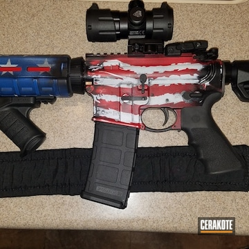 United States Flag Themed Ar Cerakoted Using Armor Black, Stormtrooper White And Usmc Red