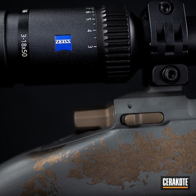 Cerakoted: TEQUILA SUNRISE H-309,S.H.O.T,Custom Rifle,Snowy Mountain Rifles,Camo,SIG™ DARK GREY H-210,Midnight Bronze H-294