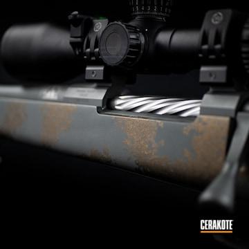 Snowy Mountain Bolt Action Rifle Cerakoted Using Midnight Bronze, Tequila Sunrise And Sig™ Dark Grey
