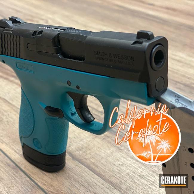 Cerakoted: S.H.O.T,M&P Shield 9mm,AZTEC TEAL H-349,Smith & Wesson M&P Shield,Christopher Miller,M&P Shield,california cerakote