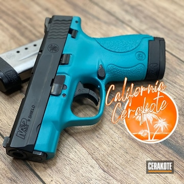 Smith & Wesson M&p Shield Pistol Cerakoted Using Aztec Teal