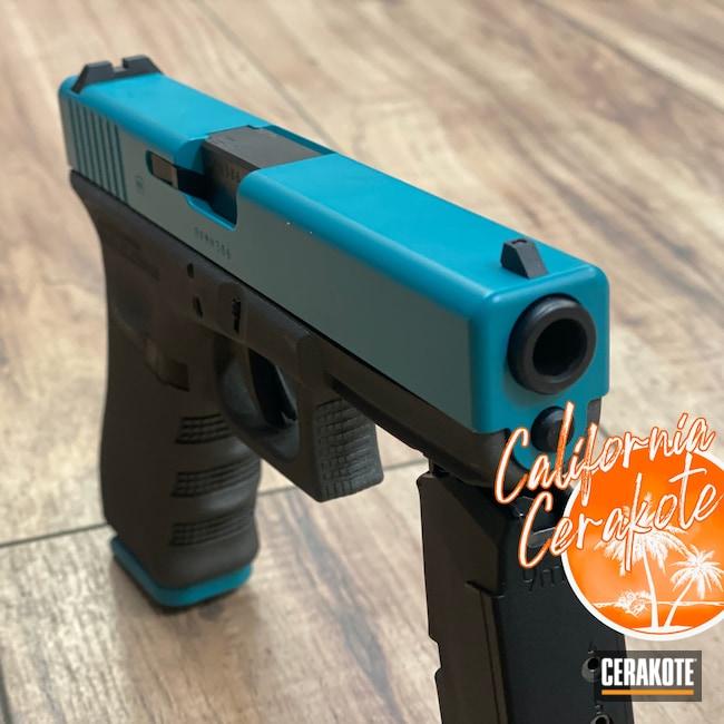 Cerakoted: S.H.O.T,AZTEC TEAL H-349,Tungsten H-237,Pistol,Glock,Christopher Miller,california cerakote