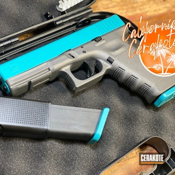Glock 17 Pistol Cerakoted Using Aztec Teal And Tungsten