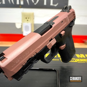 Smith & Wesson M&p Shield Cerakoted Using Rose Gold