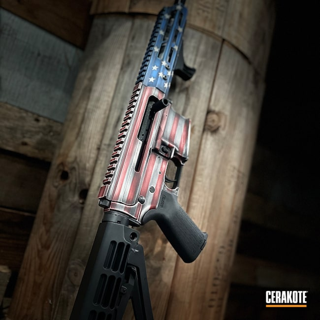 Cerakoted: S.H.O.T,AR Pistol,NRA Blue H-171,Distressed,Distressed American Flag,FROST H-312,Crimson H-221,Side Charger,Armor Black H-190,American Flag,.223 Wylde