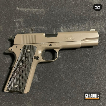Remington 1911 Pistol Cerakoted Using M17 Coyote Tan And Blackout
