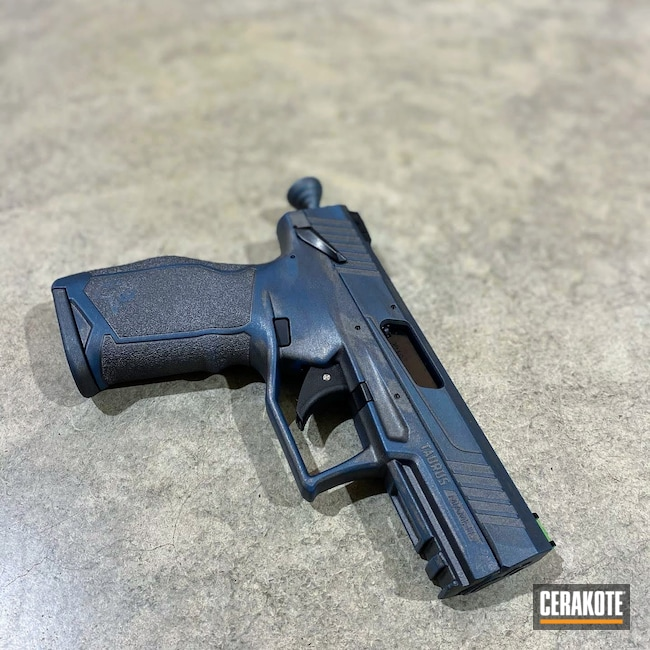 Cerakoted: S.H.O.T,Faded,Distressed,Two Tone,Denim,Tungsten H-237,Pistol,Taurus TX22,Firearms,Taurus,Blue Titanium H-185