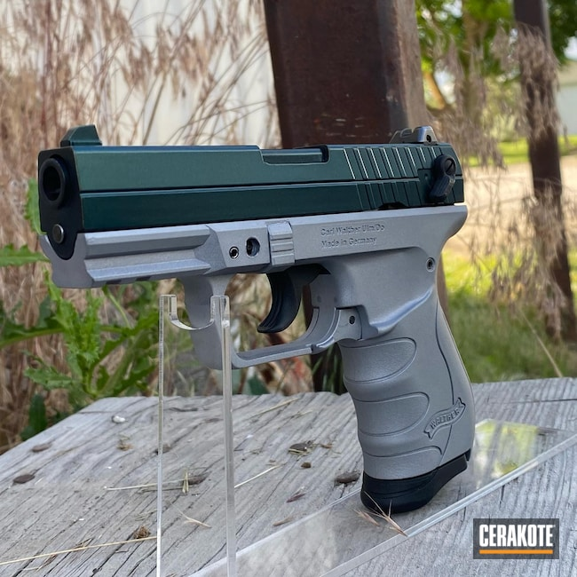 Cerakoted: S.H.O.T,Walther,Gun Candy Ivy,Graphite Black H-146,Crushed Silver H-255,Walther pk380,.380 ACP