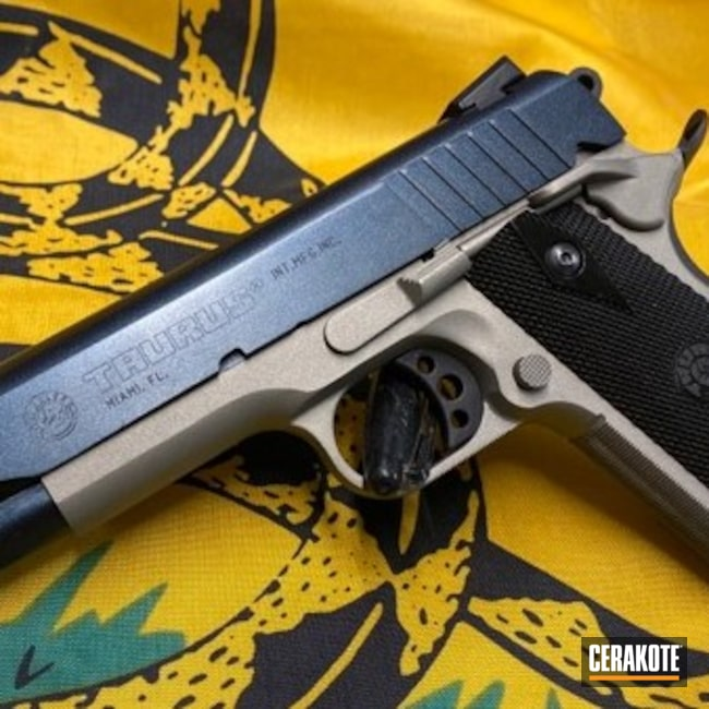 Cerakoted: S.H.O.T,.45,.45 ACP,Graphite Black H-146,Gun Candy Caiman,Titanium H-170,1911,Taurus,Taurus PT1911