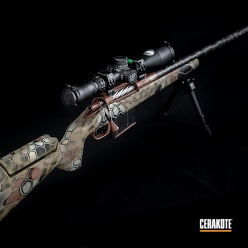 Kryptek Camo Bolt Action Rifle Cerakoted Using Desert Sage, Magpul® O.d. Green And Federal Brown