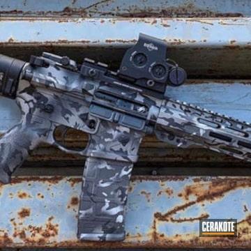 Urban Camo Ar-15 Cerakoted Using Satin Aluminum, Titanium And Graphite Black