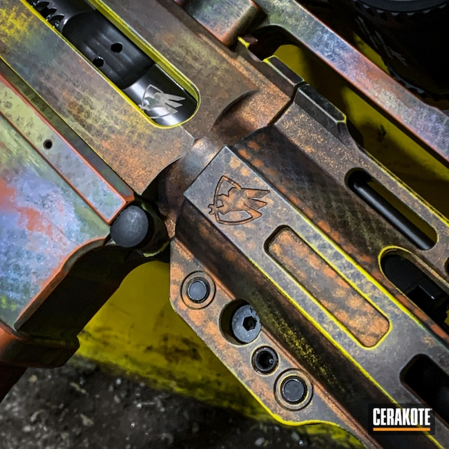 Cerakoted: S.H.O.T,Multi Color,COPPER SUEDE H-310,CRUSHED ORCHID H-314,SUNFLOWER H-317,Crazy,AR15 Lower,Shot Show 2020