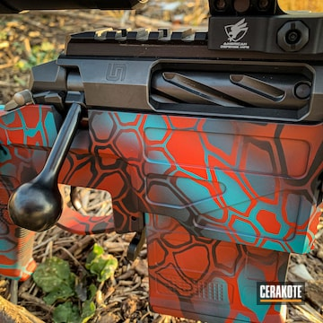 Kryptek Camo Bolt Action Rifle Cerakoted Using Usmc Red, Aztec Teal And Graphite Black
