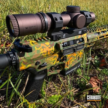 Custom Camo Ar Cerakoted Using Tequila Sunrise, Sunflower And Multicam® Pale Green