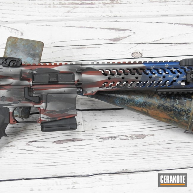 United States Flag Themed Ar Build Cerakoted Using Crimson, Frost And Nra Blue