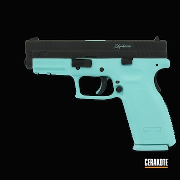 Springfield Xd-9 Cerakoted Using Armor Black And Robin's Egg Blue