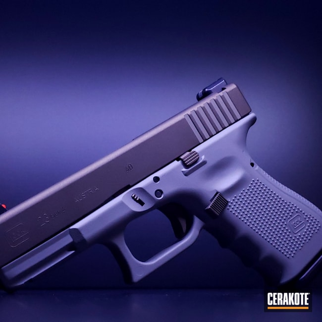 Cerakoted: S.H.O.T,23,Glock,Glock 23,Bull Shark Grey H-214,Midnight Bronze H-294,.40,Gen 4,G23