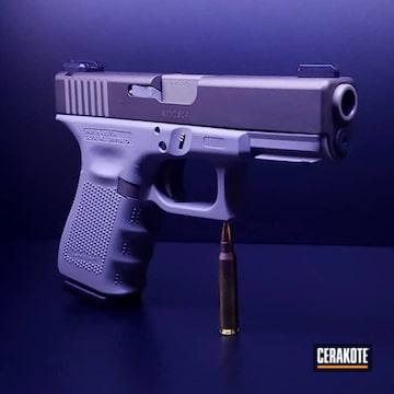 Glock 23 Cerakoted Using Midnight Bronze And Bull Shark Grey
