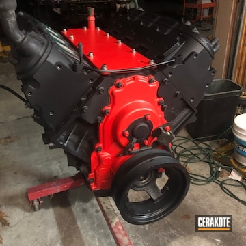 Suburban Engine Cerakoted Using Cerakote Glacier Black And Stoplight Red