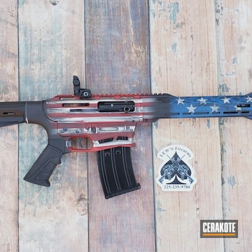 Cerakoted Patriotic Themed Firearm In H-171, H-146, H-306 And H-297