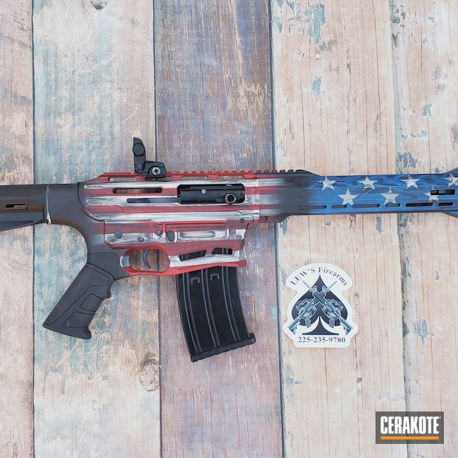 Cerakoted: S.H.O.T,Patriotic,NRA Blue H-171,Graphite Black H-146,RUBY RED H-306,Stormtrooper White H-297,American Flag,12 Gauge