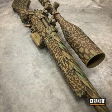 Kryptek Camo Rifle Cerakoted Using Multicam® Dark Brown, Mil Spec Green And Smith & Wesson® Tan