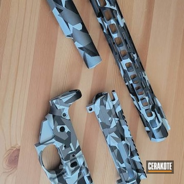 Splinter Camo Ar Builders Set Cerakoted Using Battleship Grey, Graphite Black And Tungsten
