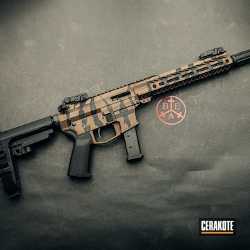Custom Tiger Striped Camo Ar Cerakoted Using Armor Black And Burnt Bronze