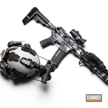 Kryptek Camo Cerakoted Ar Using Armor Black, Stormtrooper White And Sig™ Dark Grey