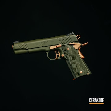 Kimber 1911 Cerakoted Using Rose Gold And Mil Spec O.d. Green