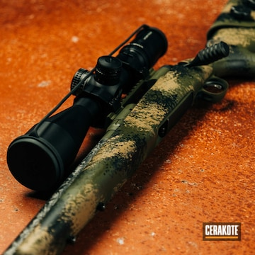 Custom Camo Savage Arms Model 110 Rifle Cerakoted Using Armor Black, Mil Spec O.d. Green And Magpul® Flat Dark Earth