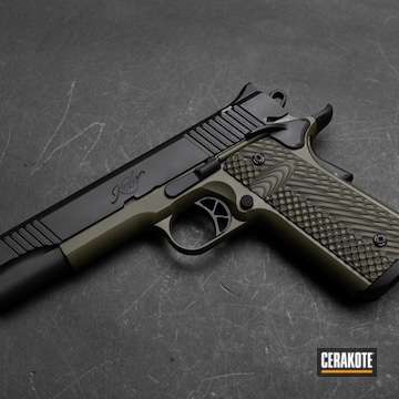 Kimber 1911 Cerakoted Using Armor Black And Sniper Green