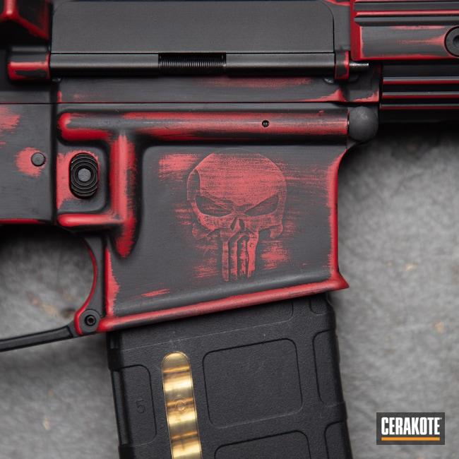 Cerakoted: S.H.O.T,Distressed,Crimson H-221,Armor Black H-190,80%,5.56,Medford,AR Pistol,Punisher Skull,Oregon,black flag armory,Upper,AR-15
