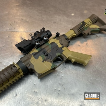 Multicam Ar-15 Cerakoted Using Mud Brown And Graphite Black