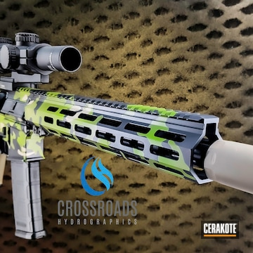 Custom Camo Ar Cerakoted Using Desert Sand, Zombie Green And Graphite Black