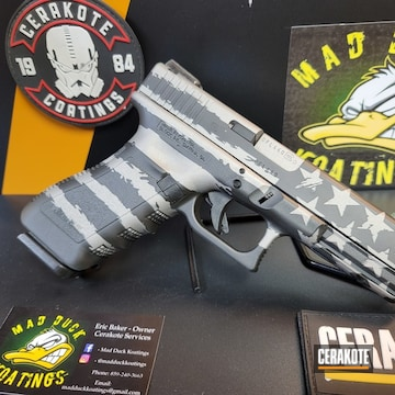 Thin Blue Line Flag Themed Glock 22 Cerakoted Using Savage® Stainless, Nra Blue And Graphite Black