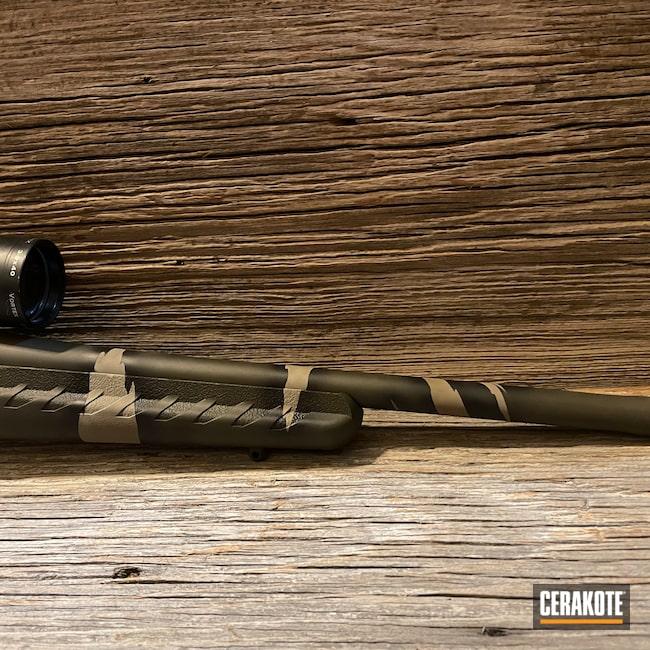 Cerakoted: S.H.O.T,Rifle,Desert Sage H-247,Ruger American Rifle,Ruger,Riptile Camo,Armor Black H-190,.223,O.D. Green H-236,Flat Dark Earth H-265,Custom Camo,American,Camo,Camouflage