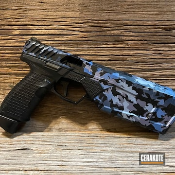 Custom Camo Pistol Cerakoted Using Crushed Orchid, Polar Blue And Nra Blue